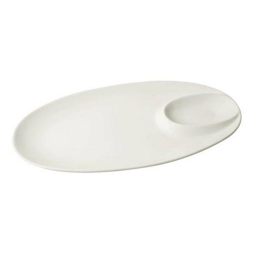 Oval Platter With Saucer Holder