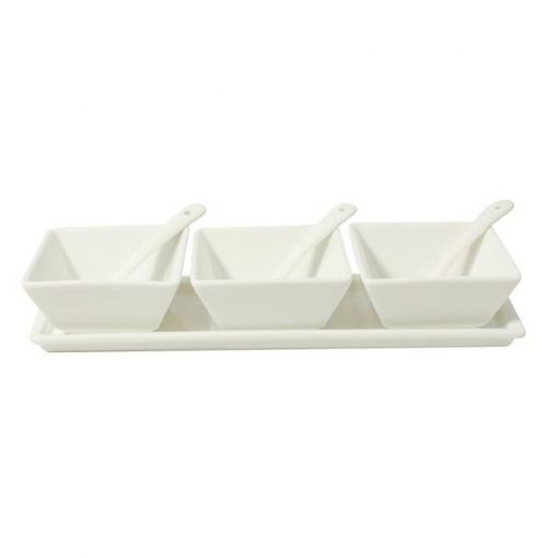 Condiment Set With Tray + 3 Rectangular Bowl + 3 Spoon